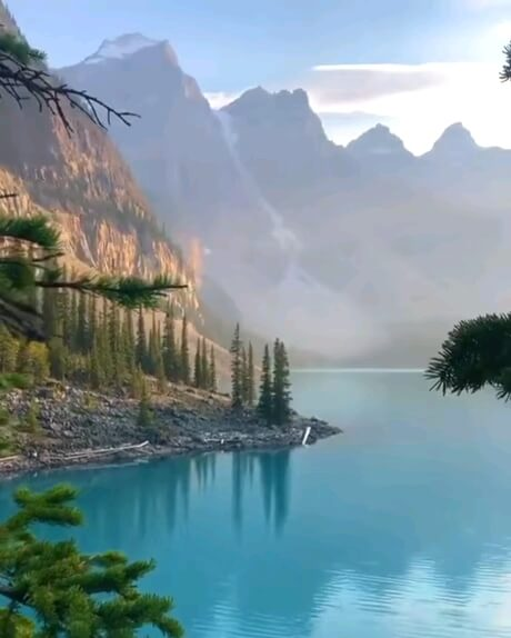 دانلود گیف متحرک طبیعت زیبا و رویایی پارک بنف کانادا