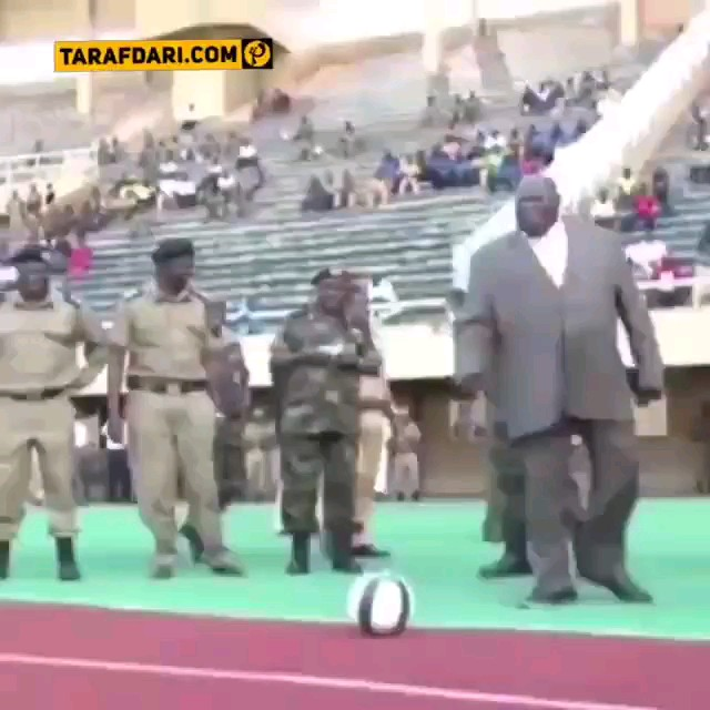 شوت خنده دار رئیس جمهور اوگاندا لحظه شروع مراسم لیگ