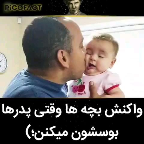 کلیپ خنده دار واکنش بچه ها وقتی باباهاشون بوسشون میکنن :)