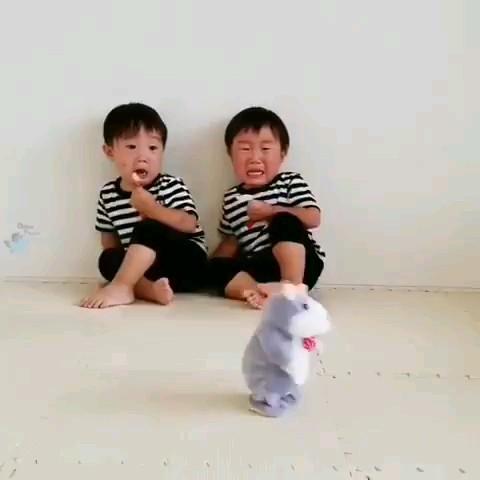 ترسیدن خنده دار دوقلوی چینی از عروسک :)