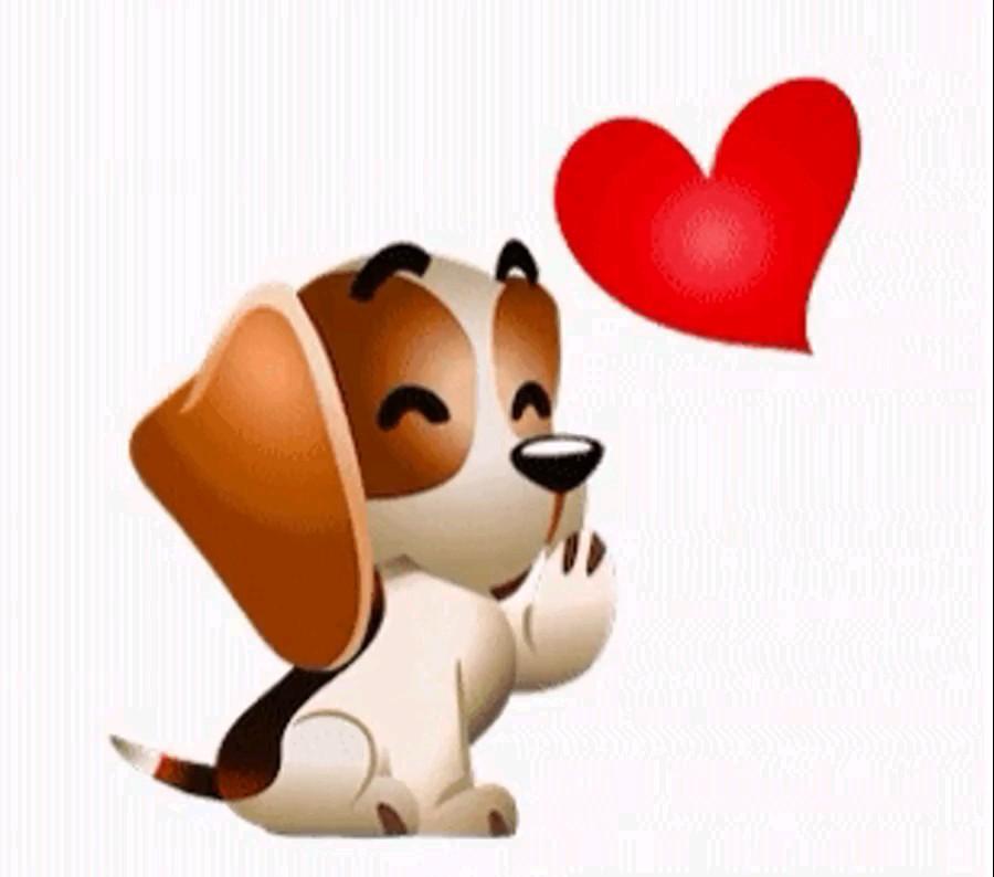 تصویر متحرک بوس فرستادن همراه قلب عاشقانه