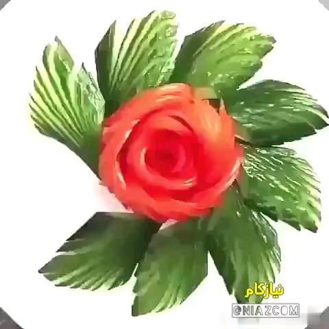 ویدیو آموزش درست کردن گل با گوجه فرنگی و خیار ، برای تزئین سالاد عالیه :)