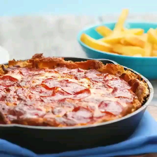 غذای فوری | پیتزا سیب زمینی وسالامی | غذای راحت دانشجویی یا کارمندی