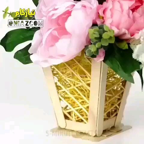 ویدیو آموزش درست کردن گلدان زیبا با چوب بستنی