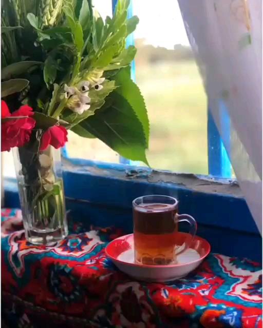گیف عصر بخیر واتساپ | گیف فنجان چای