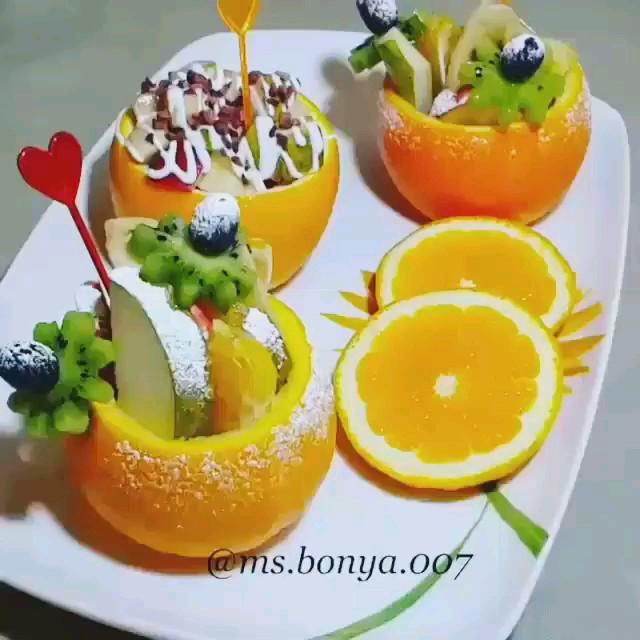 فیلم طرز تهیه سالاد میوه توی ظرف پرتقالی
