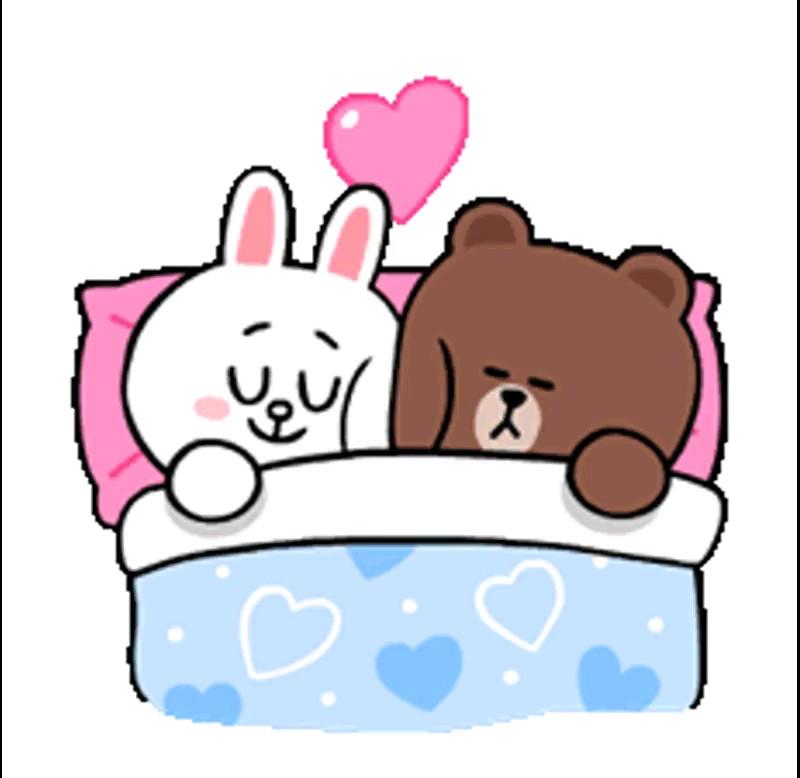 استیکر خوابیدن عاشقانه واتساپ