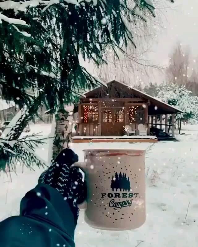 گیف متحرک  صبح بخیر زمستانی موزیکال