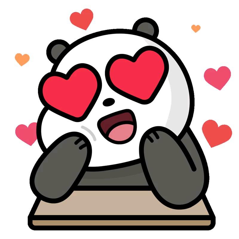 دانلود استیکر کارتونی عاشقانه پاندا واتساپ