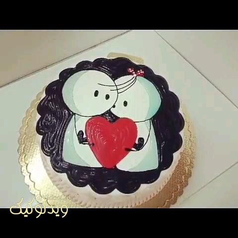 فیلم آموزش تزیین کیک عاشقانه دونفره