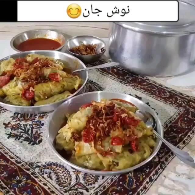 طرز تهیه دلمه کلم با چاشنی سماق | آشپزی سنتی
