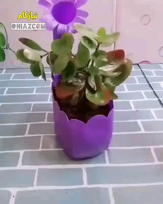 ترفند درست کردن گلدان با بطری شوینده